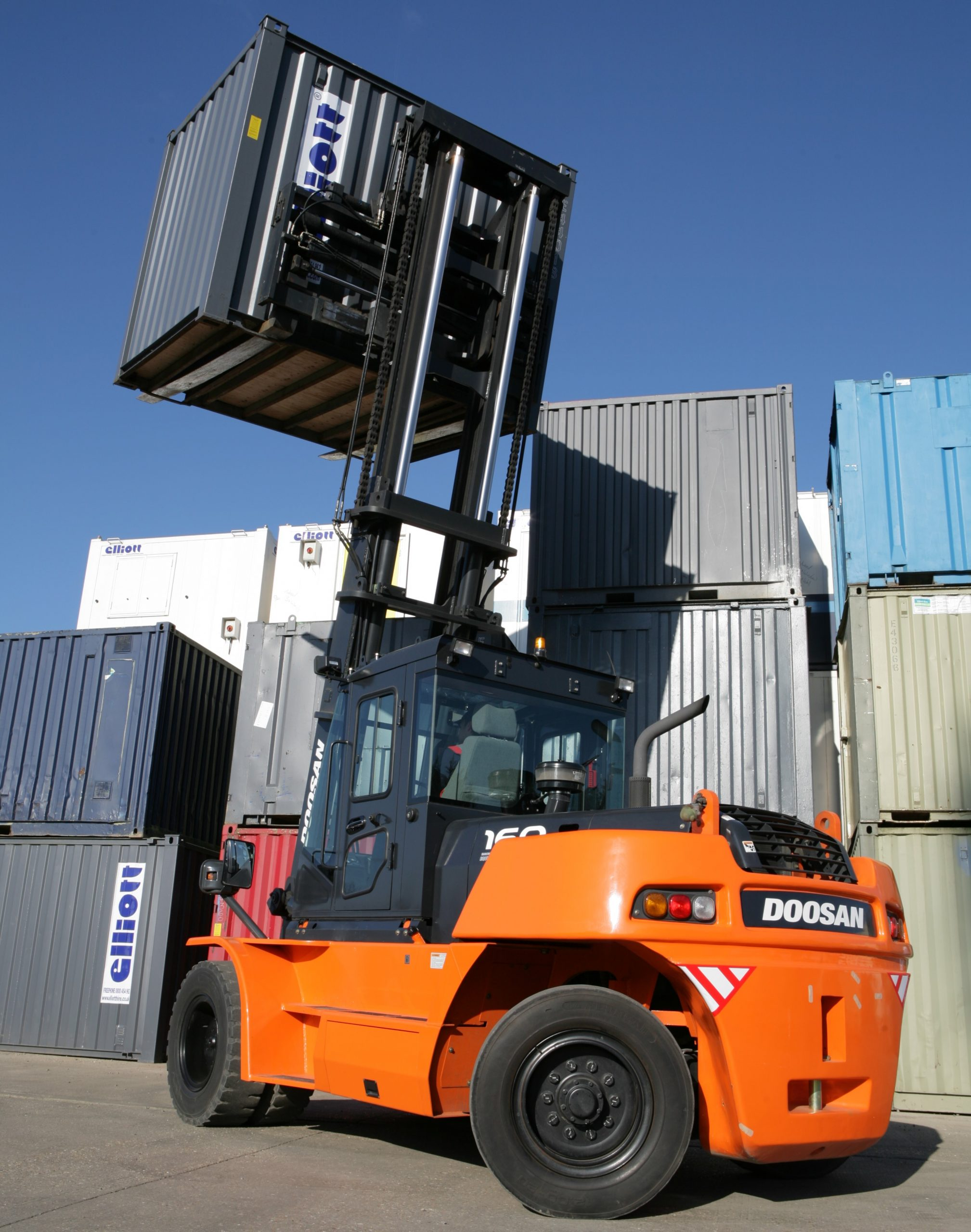 Material Handling forklift lifting crate